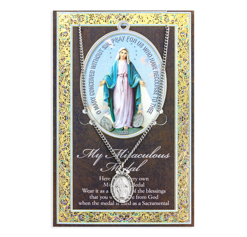 """Saint Mary Miraculous Medal Necklace Set  Genuine Pewter Saint Medal Stainless Steel Chain Silver Embossed Pamphlet with Patron Saint Information and Prayer Included  Lists Biography/History, and gives the Patron Attributes, Feast Day and Appropriate Prayer. (3.25""""x 5.5"""")"""