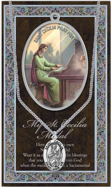 """Saint Cecilia Medal Necklace Set  Genuine Pewter Saint Medal Stainless Steel Chain Silver Embossed Pamphlet with Patron Saint Information and Prayer Included  Lists Biography/History, and gives the Patron Attributes, Feast Day and Appropriate Prayer. (3.25""""x 5.5"""")"""
