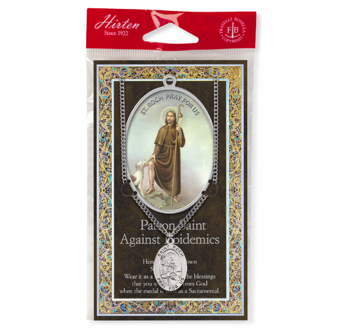 """Saint Roch Medal Necklace Set  Genuine Pewter Saint Medal Stainless Steel Chain Silver Embossed Pamphlet with Patron Saint Information and Prayer Included  Lists Biography/History, and gives the Patron Attributes, Feast Day and Appropriate Prayer. (3.25""""x 5.5"""")"""