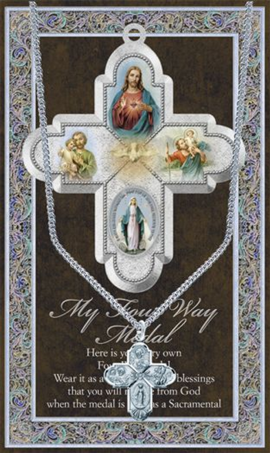 """Four-Way Cross Medal Necklace Set  Genuine Pewter Saint Medal Stainless Steel Chain Silver Embossed Pamphlet with Patron Saint Information and Prayer Included  Lists Biography/History, and gives the Patron Attributes, Feast Day and Appropriate Prayer. (3.25""""x 5.5"""")"""