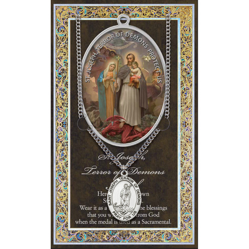 """Saint Joseph Terror of Demons Medal Necklace Set  Genuine Pewter Saint Medal Stainless Steel Chain Silver Embossed Pamphlet with Patron Saint Information and Prayer Included  Lists Biography/History, and gives the Patron Attributes, Feast Day and Appropriate Prayer. (3.25""""x 5.5"""")"""