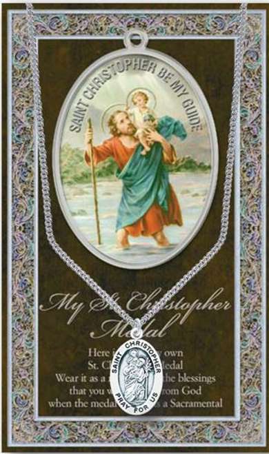 """Saint Christopher Medal Necklace Set  Genuine Pewter Saint Medal Stainless Steel Chain Silver Embossed Pamphlet with Patron Saint Information and Prayer Included  Lists Biography/History, and gives the Patron Attributes, Feast Day and Appropriate Prayer. (3.25""""x 5.5"""")"""