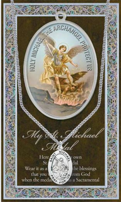 """Saint Michael the Archangel Medal Necklace Set  Genuine Pewter Saint Medal Stainless Steel Chain Silver Embossed Pamphlet with Patron Saint Information and Prayer Included  Lists Biography/History, and gives the Patron Attributes, Feast Day and Appropriate Prayer. (3.25""""x 5.5"""")"""