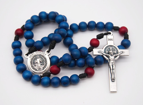 Natural Wood Rosary St. Benedict KU Theme Handmade High Quality Strong Rosary Won't Come Apart Like Traditional RosariesParacord Cord 8mm