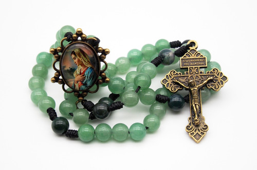 Genuine Gemstone Rosary Pondering Mother Mary Handmade High Quality Strong Rosary Won't Come Apart Like Traditional RosariesParacord Cord 8mm
