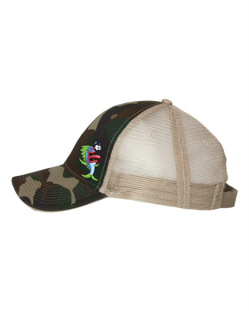 Tan/Green  Camo Hat with MoMo embroidered on it