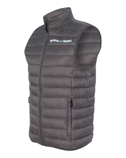 Weatherproof 32 deg. Packable down vest - Gray with Boobin text