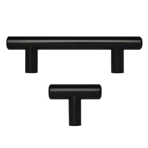 "2"" - 18"" Matte Black Kitchen Cabinet T Bar Pulls Handles Knobs Hardware"