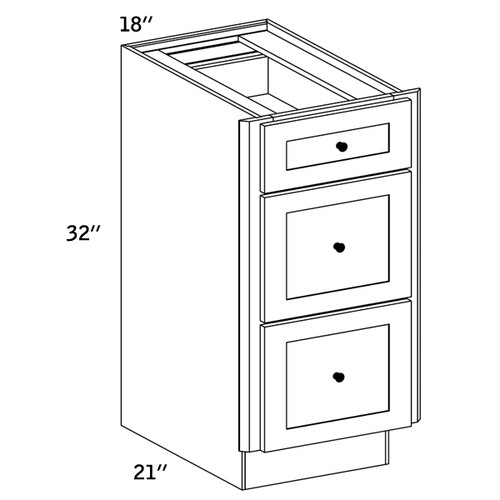 VDB18 - Vanity 3 Drawer Base Cabinet - CC9000