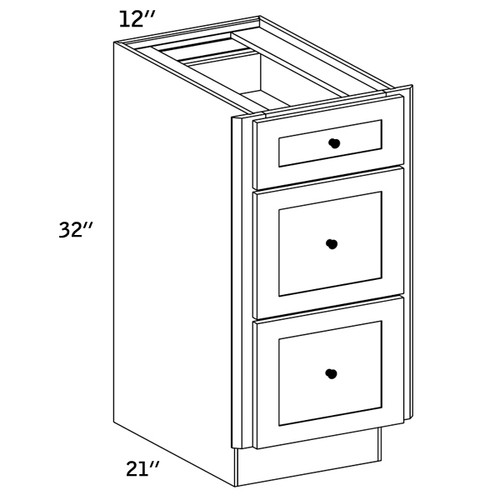 VDB12 - Vanity 3 Drawers Base Cabinet - CMS8000