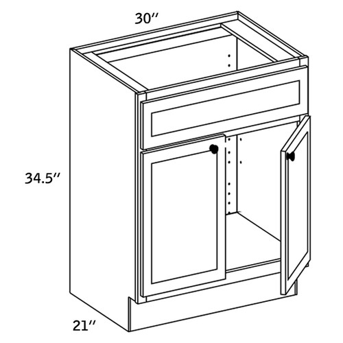 V3021 - Vanity 2 Doors and 1 Fixed Drawer - WBG7000