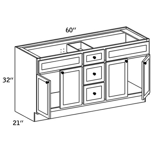 VCD602132 - Vanity 4 Doors and 2 Fixed Drawers 3 Drawers Pack - WBG7000