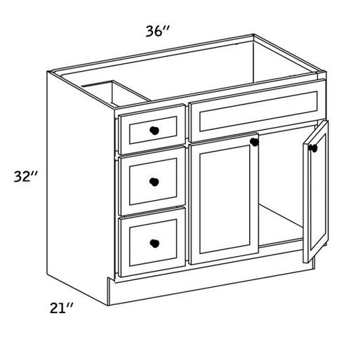 VSD3621L - Vanity Sink Base Drawer - ES5000
