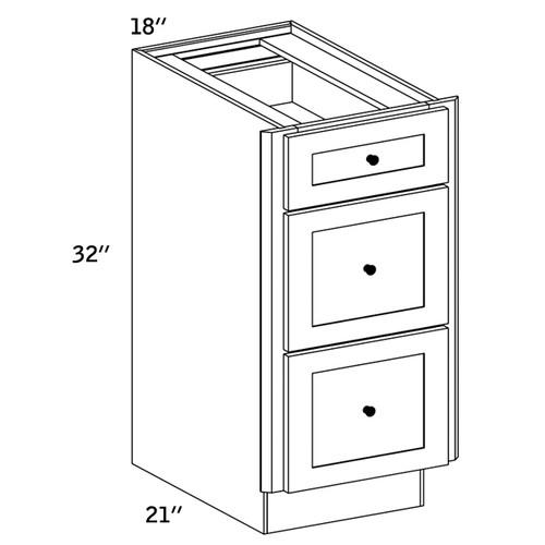 VDB18 - Vanity 3 Drawer Base Cabinet - CMS8000