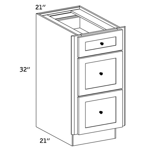 VDB21 - Vanity 3 Drawer Base Cabinet - CMS8000