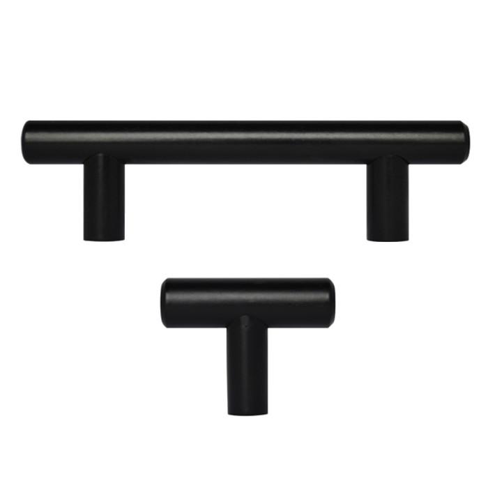 "2"" - 18"" Matte Black Kitchen Cabinet T Bar Pulls Handles Knobs Hardware"