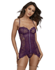 Dark Purple Lace Chemise with Garter Straps from Dreamgirl Lingerie