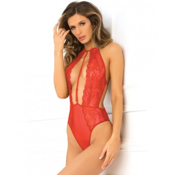 Red Low Plunge Lace Center Strap Teddy - Rene Rofe