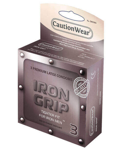 Caution Wear Iron Grip Condoms - Small Penis Condom