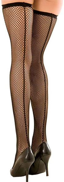 Black Fishnet Thigh-Highs with Backseam