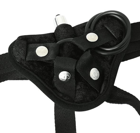 Black Velvet Strap-On Harness