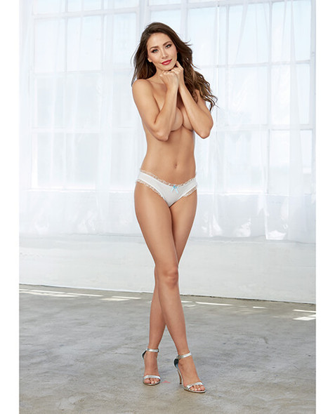 """White Low-Rise """"Bride"""" Panty with Rhinestones"""