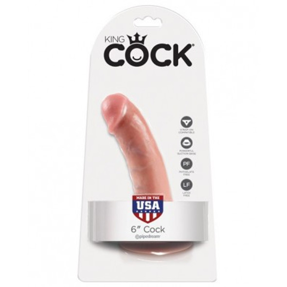 King Cock White Realistic Dong - 6 inches