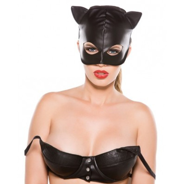 Allure Faux Leather Cat Mask - Black