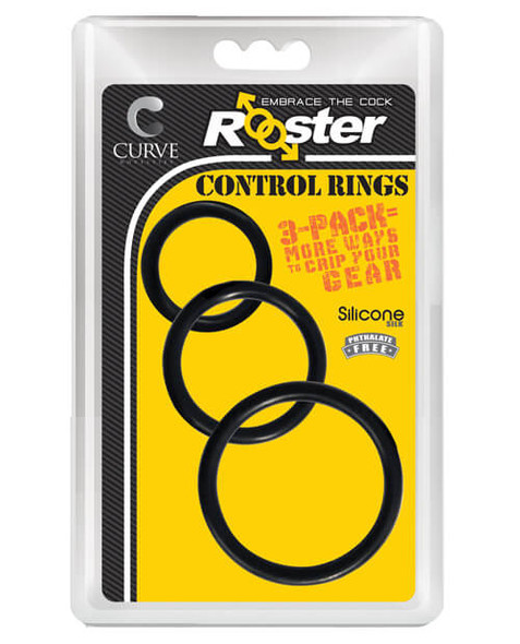 Rooster Control Cock Rings - 3 Pack - Black