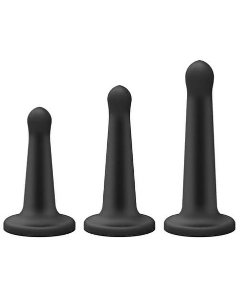 This Pegging Strap-On Set comes with 3 slim silicone dildos