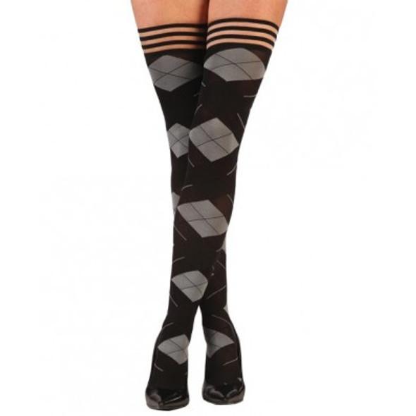 Kixies Kimmie Argyle Thigh Highs - Black/Grey