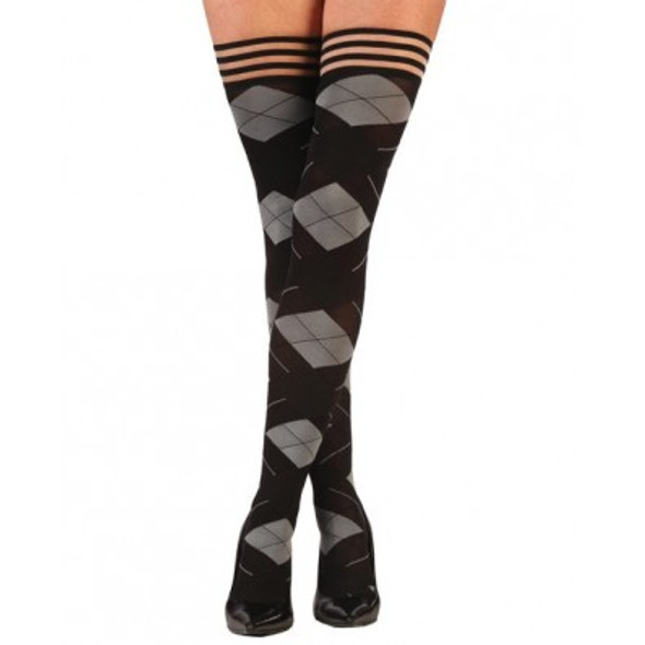 Kixies Kimmie Argyle Thigh Highs - Black/Grey