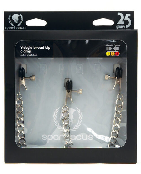 Spartacus Y-Style Chained Nipple & Clit Clamps