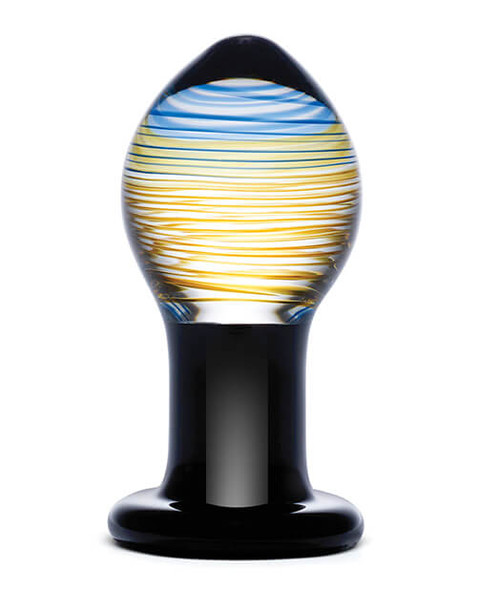 Gläs Toys Galileo Glass Butt Plug - Black/Gold/Blue