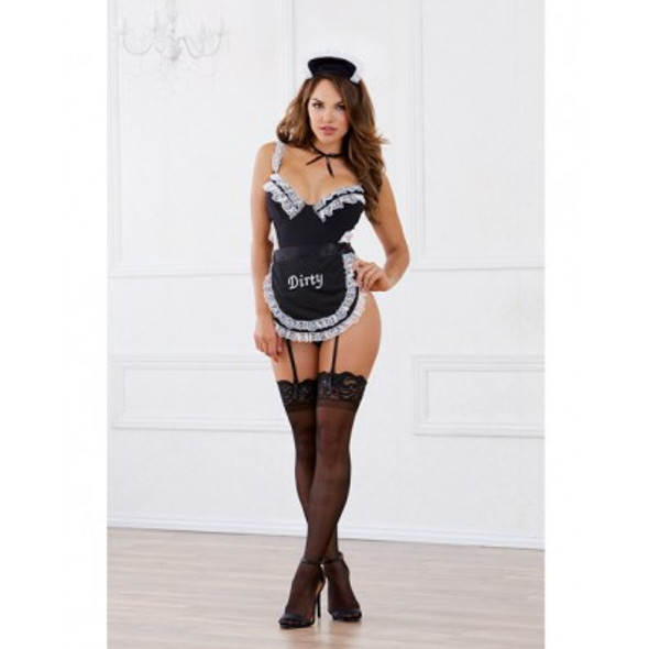 "Dreamgirl Fetish Maid Teddy Set with ""Dirty"" Embroidered Apron"