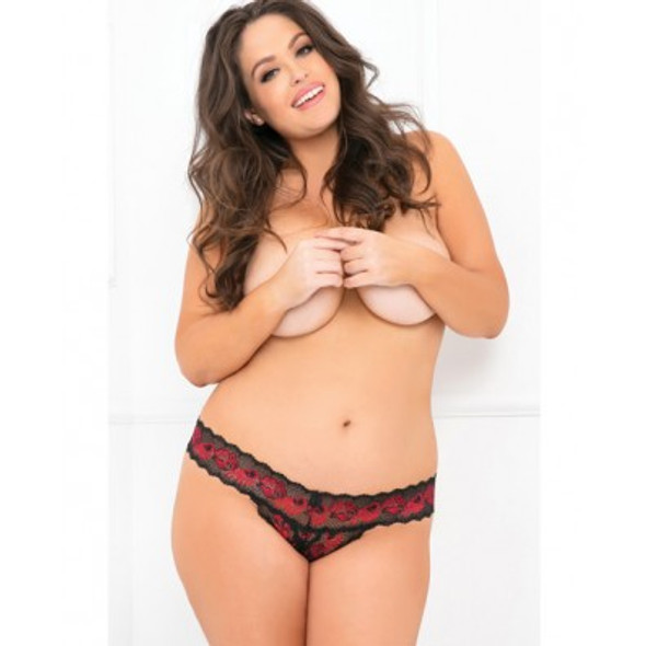 Rene Rofe Crotchless Lace V-Thong - Queen Sized Lingerie
