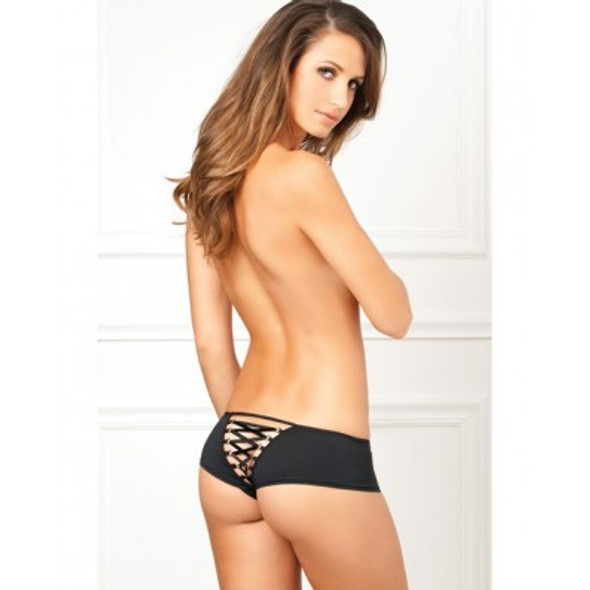 Crotchless Lace Up Back Cheek Short -  Black