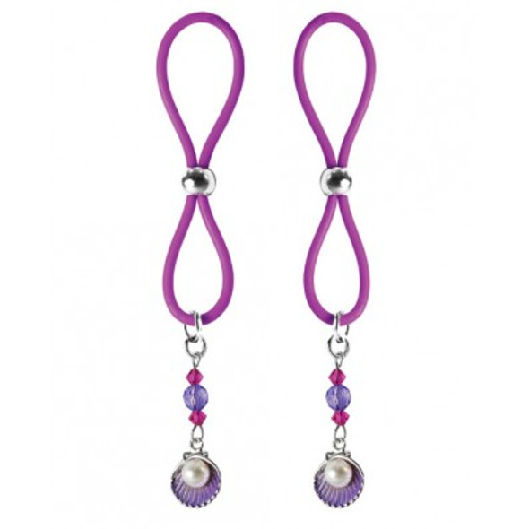 Halo Non-Piercing Nipple Jewels - Pink and Purple Shell Beads