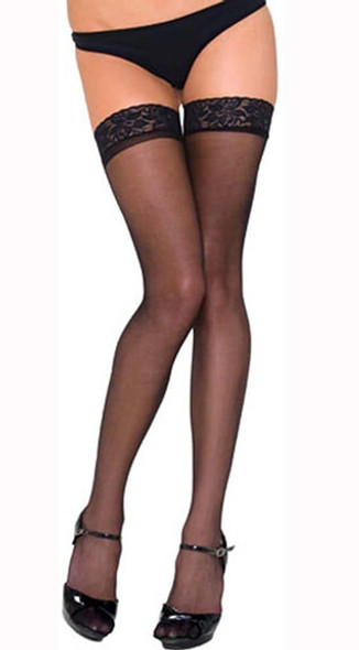 Rene Rofe Lace Top Sheer Thigh High - Black