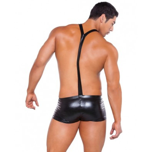 Zeus Wet-Look Suspender Shorts - Black
