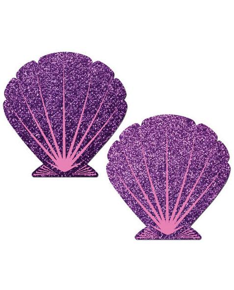 Pastease Adhesive Nipple Pasties: Mermaid Shells - Purple