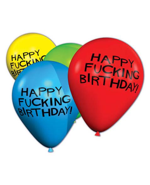 Happy Fucking Birthday Balloons - 8 Pack