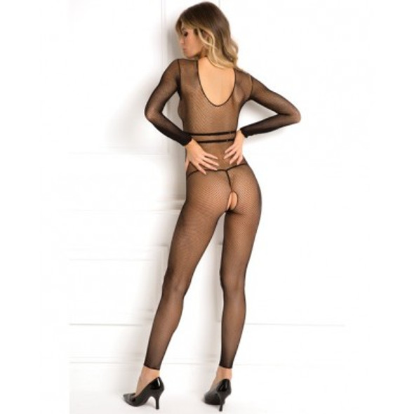 Black Fishnet Bodystocking with Harness