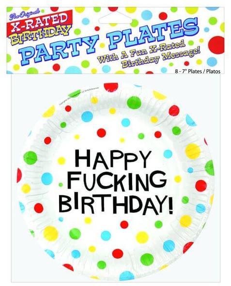 Happy Fucking Birthday Plates - 8 Pack
