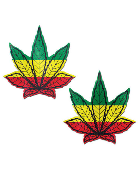 Pastease Adhesive Nipple Pasties: Rasta Pot Leaf