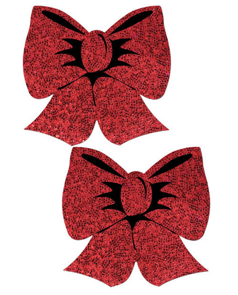 Pastease Adhesive Nipple Pasties: Red Hologram Bows