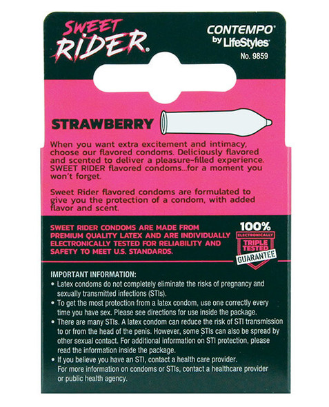 Sweet Rider Strawberry Condoms - 3 Pack