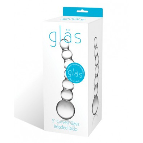 Gläs Toys Curved Glass Beaded Dildo