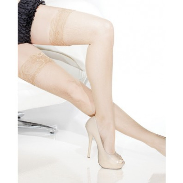 Coquette Fishnet Stay-Up Stockings - Nude