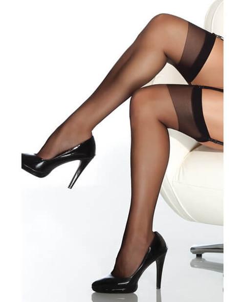 Coquette Sheer Thigh-High Stockings - Black